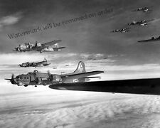 Photograph WWII B-17G Flying Fortress Bomber Formation Europe Year 1943c 11x14