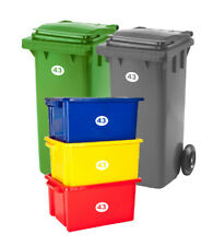 SET OF 5 Wheelie Bin Box Crate Number & Letter Stickers