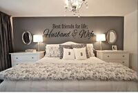 """BEST FRIENDS FOR LIFE HUSBAND & WIFE Wall Art Decal Quote Words Decor 23"""" x 7"""""""