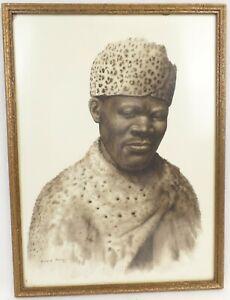 "Gerard Bhengu ""Portrait of a Man"" Watercolour / Sepia ink South African artist"