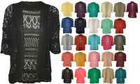 New Womens Plus Size Crochet Knitted Short Sleeve Ladies Open Cardigan Top 16-20
