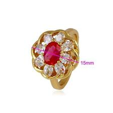 18k  Gold Filled GF Luxury Red and White Stone Women's Ring - Size 9