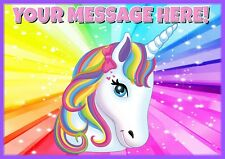 An A4 Rainbow Unicorn Personalised Cake Topper ICING