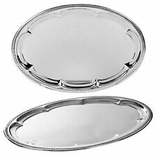 2 X Oval Silver Effect Serving Plate Dinner Tray Platter Mirror Polished