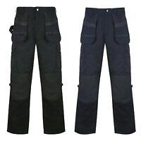 Mens Black Multi Pocket Heavy Duty Water Resistant Work Trouser Waist Size 30 to