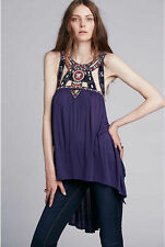 146659 New Free People Vision Quest Beaded Embroidered High Low Tunic Top XS