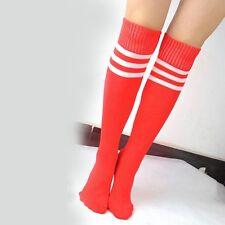 Lady Soft Stripe Over Knee High Socks Football Sport Referee Fancy Cotton Socks