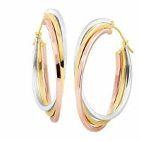 Stacked Three-Tone Hoop Earrings in 14K Two-Tone Gold-Bonded Sterling Silver