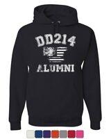 DD214 Alumni Distressed American Flag Hoodie Military Veteran Sweatshirt