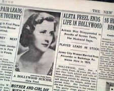 ALETA FREEL American Stage Actress Hollywood SUICIDE Death 1935 Old Newspaper