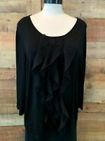 TALBOTS Women's XL Plus Black 3/4-Sleeve Stretch-Rayon+ Ruffles Top Shirt Blouse