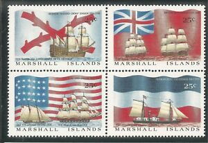 Marshall Islands #194a VF MNH BLOCK - 1988 25c Colonial Ships and Flags