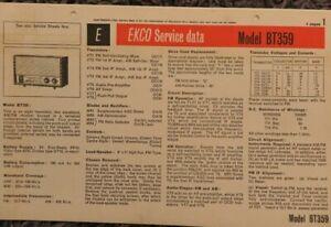 Ekco Model BPT359 8 Transistor 2 band AM FM Transportable Radio receiver manual