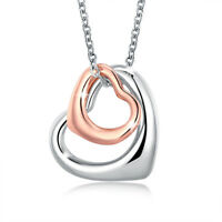 Lovely 18K Rose Gold Filled Two Love Heart Necklace Gift
