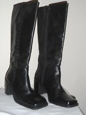 White Mt. Annie Womens Black Leather Knee Boot Shoe - Size 7.5M