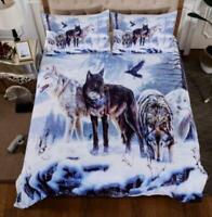 3D Snow Wolf ZHUA564 Bed Pillowcases Quilt Duvet Cover Set Queen King Zoe