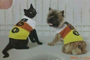 Hyde & EEK! Dog & Cat Halloween Candy Corn Sequin BOO Turtleneck Sweater S-M