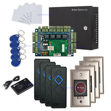 Network 4 Door Access Control Panel Kit 110V Power Box+Infrared Exit+RFID Reader