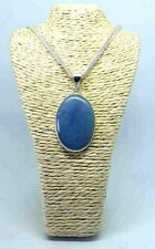 """Powder Blue Agate Bezel Pendant Necklace Silver Plated Stamped 925 18"""" Chain"""