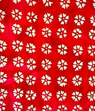 Quilter's Batiks White Carnation on Red 100% cotton fabric by the yard