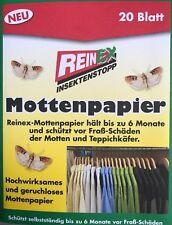 Reinex 10 Bögen =20 Blatt Mottenpapier geruchlos Motten Schrank Kleidung Teppich