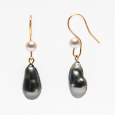 Natural Baroque Tahitian Keshi Saltwater Pearl Earrings 14k Yellow Gold Hook