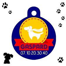 Médaille ronde pour chien Super toutou personnalisée avec nom et n° de téléphone
