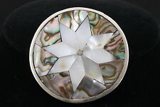 BROOCH W/ INLAID MOTHER OF PEARL & ABALONE SHELL INLAY FASHION 3656