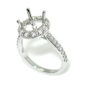 Halo Engagement Ring Setting For 7.5 mm Round Cut With 0.73 TCW Diamond Accents