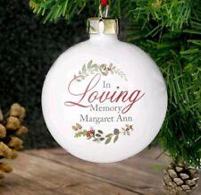 Personalised In Loving Memory Wreath Bauble Christmas Tree Memorial Decoration