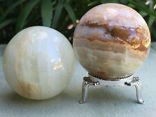 Onyx Sphere With Stand Polished Gemstone Specimen Reiki Healing Decor Pakistan.
