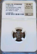 Caria, Isl Of Rhodes 188-84 BC hemidrachm NGC Choice AU 5/5 Ancient Silver Coin