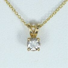 14k Oro Amarillo Blanco Redondo 0.25ct COLGANTE CON DIAMANTE CADENA