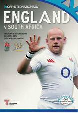 ENGLAND v SOUTH AFRICA 24 Nov 2012 RUGBY PROGRAMME