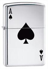 Zippo a Prueba De Viento Encendedor Lucky Ace de alto cromo pulido, de 24011, Nuevo En Caja