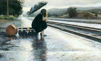 Oil painting young girl holding umbrella in rainy day In the train station 36""