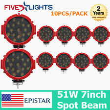 10X 7inch 51W LED Work Light Spot Thin Red Off-road Driving 4X4WD JEEP Boat ATV