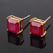 24k yellow gold filled princess ruby No Allergic charming stud earring
