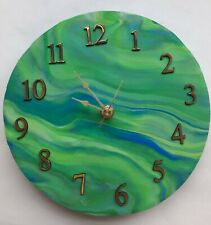 "Handmade Swirled Color Ceramic Clock 8"" waterproof face Brand New"