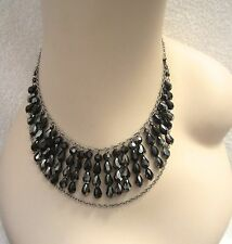 Swarovski Brand Black Crystal Necklace Swan Signed Bib Silver Cascade Tiered