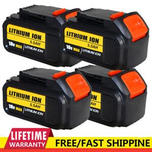 4XFOR DEWALT DCB184 18V 5.5AH Li-Ion XR Slide Battery DCB200 DCB180 DCB182 DCC78