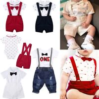 3pcs Newborn Kids Baby Boys Party Clothes Gentleman Shirt Tops+Shorts Outfit Set