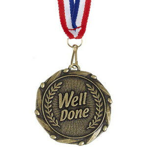 GOLD WELL DONE MEDAL 1st 2nd 3rd 4th 5th ANNIVERSARY INC ENGRAVING & RIBBON