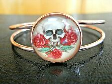 Cabochon Split Band Cuff Bracelet Beautiful Rose Gold Tone Skull Themed