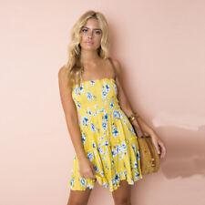 UK Women Strapless Floral Backless Sundress Ladies Summer Beach Mini Swing Dress Yellow Lemon 6