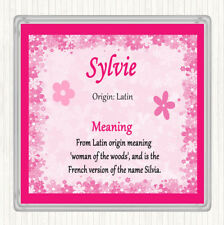 Sylvie Name Meaning Drinks Mat Coaster Pink