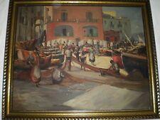 Signed WW2 Italian Oil Painting From Italy Fishermen on Wharf Boats w/ Men Women
