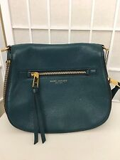 NEW MARC JACOBS RECRUIT LARGE NOMAD SADDLE TEAL LEATHER CROSSBODY BAG