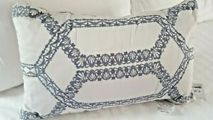 "Hudson Park decorative accent pillow Valentina light tan/blue embroidery 22""x14"""