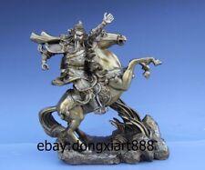 China Bronze Guan Gong GuanYu YunChang Ride Horse War God soldier warrior Statue